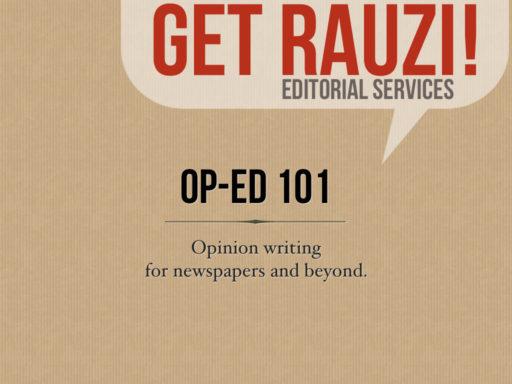 Op-Ed writing workshop presentation by freelance opinion editor Robin Rauzi slide 1.